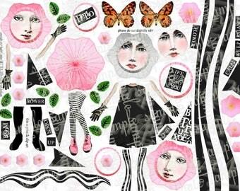 ART TEA LiFE Joynalling Paper Dolls Collage Sheet digital file printable download decoupage scrapbook journal card tags printable download