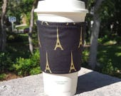 FREE SHIPPING UPGRADE with minimum -  Fabric coffee cozy / cup sleeve / coffee sleeve / teacher gift / Eiffel Tower Gold on Black