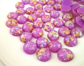 10 12mm Purple Resin Foil Cabochons, color cabs G227