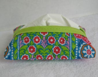 Quilted Tissue Holder - Pocket Size Tissue Cozy - Pink Lime Floral Tissue Cover - Floral Quilted Purse Tissue Holder