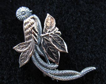 14K Yellow Gold and Sterling Silver Quetzal Bird Brooch Older Vintage Jewelry Unmarked TESTED