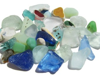 Sea Glass Craft Lot - 36 pieces in a variety of colors and styles