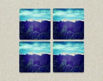 Wood Mountain Photo Coasters / Wood Coasters / House Warming / Wedding Gift / Coasters / Photo Coasters