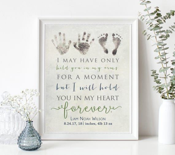 Personalized Baby Memorial Gift Print with Actual Handprints and Footprints, Infant Loss, Stillbirth Stillborn Gift - In Memory of Baby
