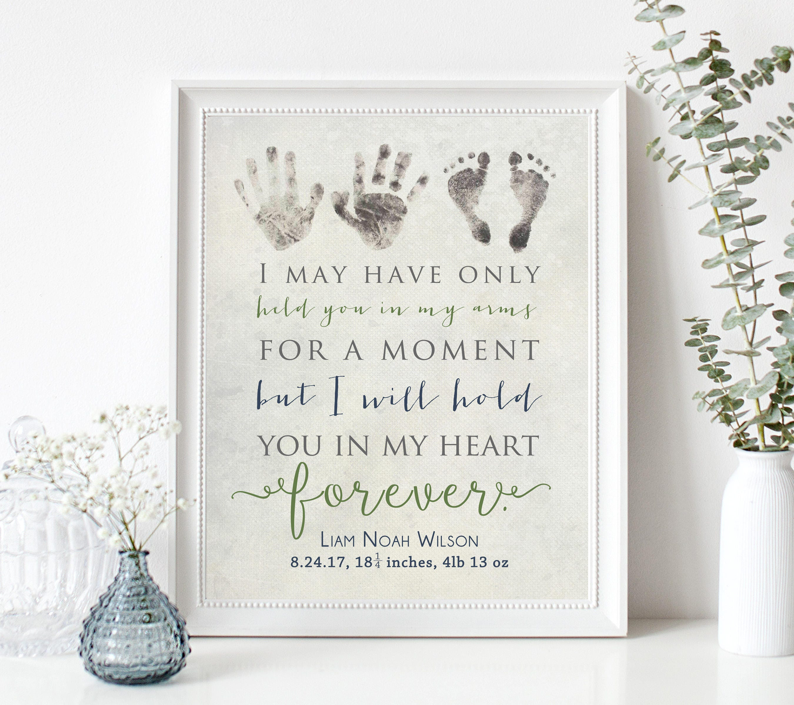 Personalized Baby Memorial Gift Print with Actual Handprints and ...