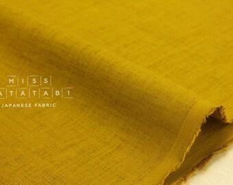 Japanese Fabric 100% linen - mustard -  50cm