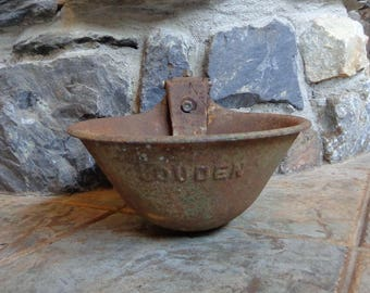 Vintage Antique Salvage Heavy Cast Iron Louden Farm Barn Cow Horse Water Drinking Bowl Repurpose