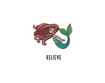 Machine Embroidery Whimsical Believe Mermaid Machine Embroidery File design 4x4 inch hoop