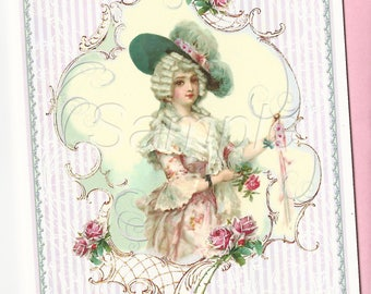 Old Fashioned Girl with Pink Roses Stripes Note Card with Envelope
