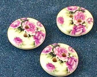 Wood Wooden Pink Rose Floral Flower  Button Buttons   C36