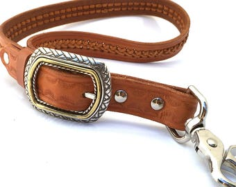 Honey Brown Leather Leash Traffic Lead Leash for Large Dog, Eco-Friendly, Unique, Seattle Handmade, Short Dog Leash, Pet Accessories, OOAK