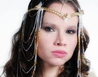 ON SALE Art Nouveau Elven Boho Wedding Headdress Tiara LOTR Arwen Cosplay Costume Crown