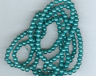 CLEARANCE 4mm Teal Green Glass Pearl Round Spacer Beads Teal Bead Spacers