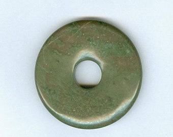 PI DAY SALE Green Focal Donut, 45mm Green Jasper Gemstone Pi Donut Focal Pendant 1229