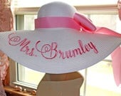 Mrs Hat Name Hat Honeymoon Bridal Hat Floppy Straw Natural Wedding, or Bridesmaids, Beach, Derby, Cup Race