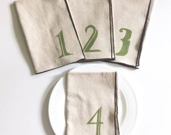 Numbered 1-4 Handmade Block Printed Napkin Set of Four,For the table top, Home essentials, Sewn by the maker