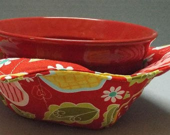 Microwave Bowl Cozy or Potholder Apple of My Eye Fabric