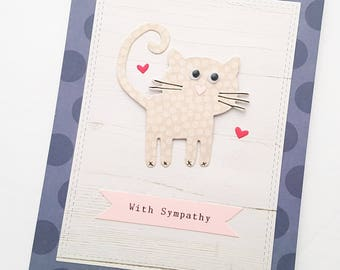 Cute Cat Sympathy Card, Cat Sympathy Card, Loss of Pet Card, Loss of Cat Card