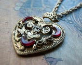 Sacred Heart Necklace - Large Rhinestone Encrusted Heart Pendant with Cross and Crown