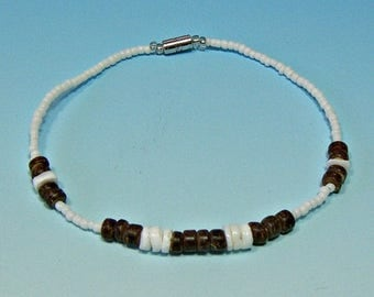 SALE Anklet White Seed Beads Brown Coconut and Puka Shell Beads Hawaiian Surfer SUP 9 Inches Length 5206