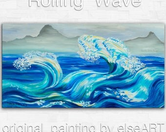 Sea art Wave painting Original abstract oil painting blue sea rolling white wave on gallery wrap canvas Ready to hang by tim Lam 48x24