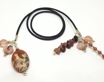 FREE SHIP Bookmark Book Thong Leather Cord Dark Brown Rosy Stone Lepodolite, Rhodonite, Rose Quartz, Pink Opal Journal Bookmark