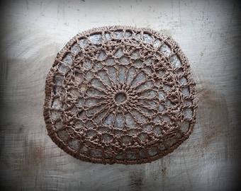 Crochet Lace Stone, Home Decor, Table Decoration, Nature, Handmade, Original, Mocha Brown, Monicaj