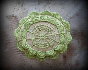 Crocheted Lace Stone, Original, Light Green, Handmade, Home Decor, Unique, Collectible, Monicaj