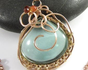 SUMMER SALE Algae Pond Necklace - Green Amethyst and Sapphires in 14k Yellow and Rose Gold Filled Pendant