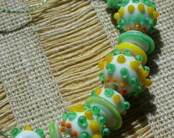 Lampwork beads/glass beads/handmade lampwork/sra lampwork/candy/yellow and green/summer/