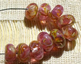 Lampwork beads/SRA lampwork/beads/frit/rose/gold/pink/potpourri/