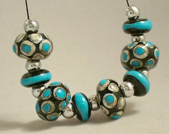 Lampwork beads/SRA Lampwork/beads/lampwork glass/turquoise/silver/black/silvered ivory/