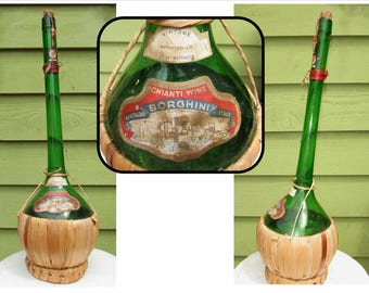 Vintage Long Neck Green Glass Chianti Wine Bottle w Raffia base, Borghini, Certaldo Italy, 1962 Imported Seattle Washington