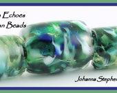 BIG HOLE Encased Green Blue White Lampwork  Bead Set SRA Canyon Echoes Johanna Stephenson