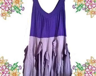 Refashion Long Floaty Cotton Dress. Purple / Lilac / Lavender. Plus Size large / extra large. Shabby chic boho.