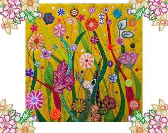 Original Textile / Fiber Art Flower Garden - Mounted and ready to Frame - Wall Art Quilt