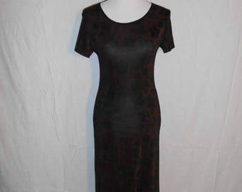 Vintage 90s  black brown floral long  dress, stretchy, long dress, grunge, punk, fitted