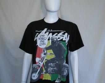 Closing Shop 40%off SALE STUSSY 90s black t shirt, Rasta Stussy t shirt