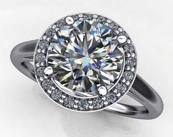 anya ring - 1.5 carat forever one moissanite engagement ring, diamond halo ring