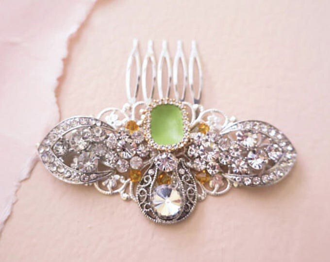 One of a kind Vintage Wedding Hair Comb with Crystals