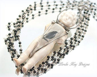 Charlotte & The Raven Frozen Charlotte Doll Necklace Soldered Gothic Black Bird Necklace Doll Art Lorelie Kay Original