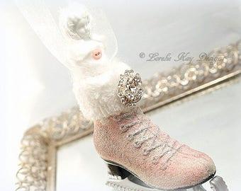 Frozen Charlotte Pink Ice Skate Ornament Rhinestones Glitzy Christmas Tree Winter Theme Ornament Hanging Assemblage Art Doll