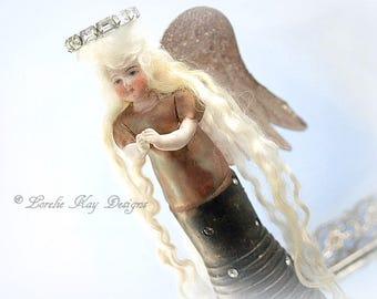 Angel Art Doll Assemblage Art Doll Sculpture Wooden Totem Blonde Angel Girl OOAK Sculpted Lorelie Kay Designs