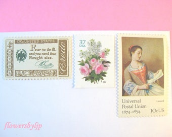 Pink Floral Dark Gold Postage Stamps, Lady Letter Painting - Pink Rose - White Lilacs Bouquet Stamps, Mail 10 Envelopes 1 oz 50 cent postage