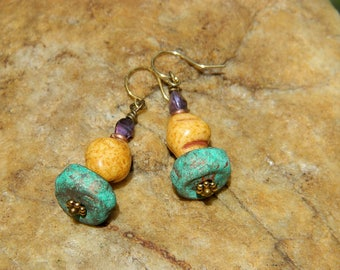Czech Bead and Stoneware Clay Bead Earrings