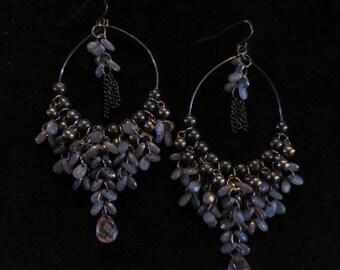 """30% OFF Very Long 3.75"""" Slate Blue Beaded Earrings Gypsy Boho Hippie"""