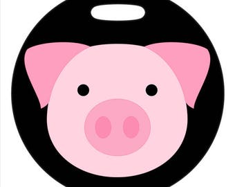 Luggage Tag - Piggy - 2.5 inch or 4 Inch Round Plastic Bag ID Tag