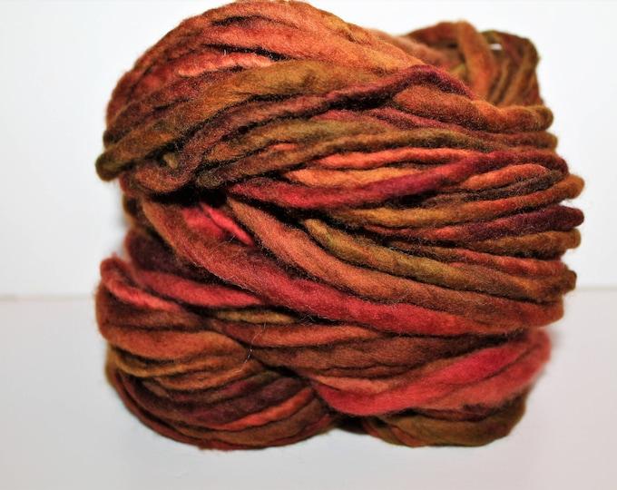 Handspun Merino wool yarn. Single ply. Bulky weight.  4oz. 80 yards. Knit. Crochet. Felt.