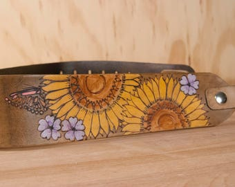 Replacement Handbag Strap - Leather Guitar Strap Crossbody Purse Strap with Butterflies and Sunflowers in Yellow, Purple and Antique Brown