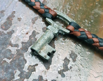 Ziad - UNIQUE & LIMITED STOCK, Vintage French Key Braided Leather Pendant Necklace, Men's Women's Choker Necklace, Boho Tribal Gypsy Jewelry
